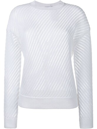 sweater long mesh white