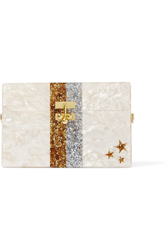 clutch stripes stars metallic beige bag