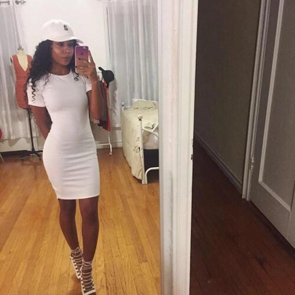 Shoes: nude, heels, dress, white dress, shirt dress, bodycon dress ...