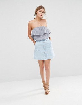 Look A-Line Button Through Denim Mini Skirt at asos.com