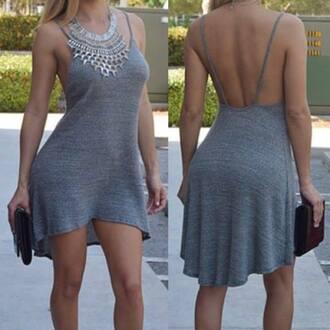dress summer dress grey grey dress asymmetrical asymmetrical dress open back open back dresses decoltè sexy sexy dress