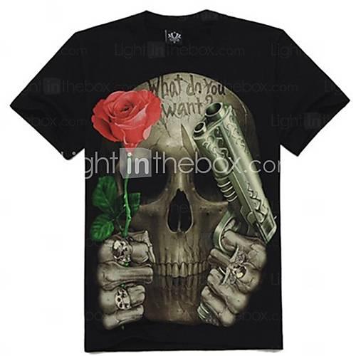 [CAD $ 19.96] Men's 3D Skull Rose Print Short Sleeve T-shirt
