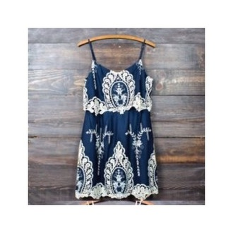 dress blue blue & white short dress white lace