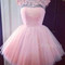Pink tulle round neck short lace prom dress, homecoming dress - 24prom