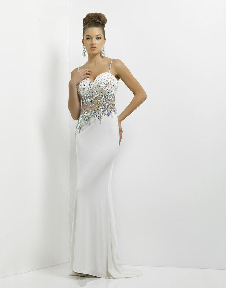 Spaghetti Strap Sweep Train White Sheath Column Prom Dress Obp0096