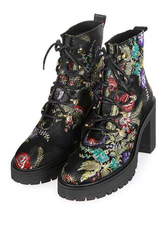 shoes boots topshop biker boots print black