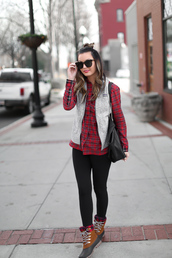 for all things lovely,blogger,top,leggings,jacket,shoes,bag,hat,winter outfits,vest,plaid shirt,duck boots