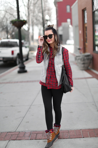 for all things lovely blogger top leggings jacket shoes bag hat winter outfits vest plaid shirt duck boots