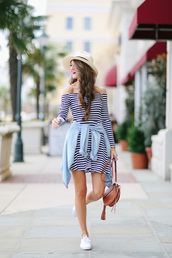 southern curls and pearls,blogger,bag,striped dress,off the shoulder,denim jacket,white sneakers,brown bag,date outfit
