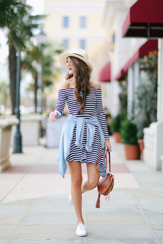 southern curls and pearls blogger bag striped dress off the shoulder denim jacket white sneakers brown bag date outfit