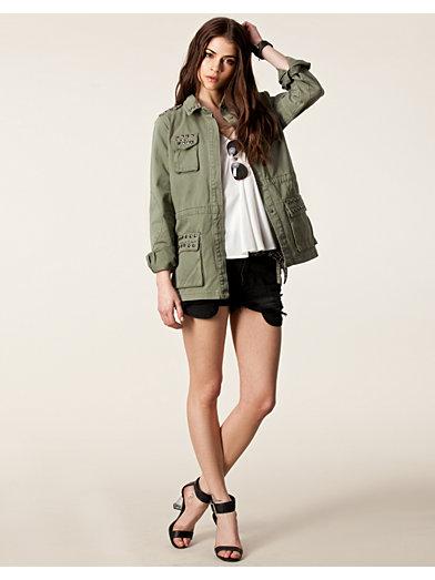 Raw Plain Stud Army Jacket - Only - Olive - Jakker - Tøj - Kvinde - Nelly.com
