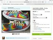 shoes,rainbow,pride parade,converse,handmade,cute,hipster,gay pride