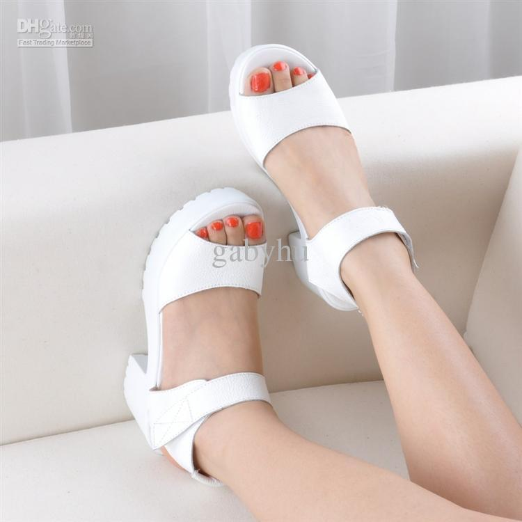 Buy cheap fashion flat heel sandal white black color cow leather women shoes with $30.52