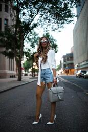 maria vizuete,mia mia mine,blogger,jacket,shorts,sunglasses,shoes,bag,pumps,high heel pumps,grey bag,denim shorts,blazer,summer outfits