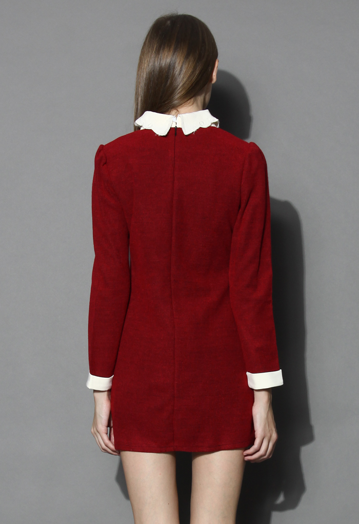 Lovely smile knitted shift dress in red