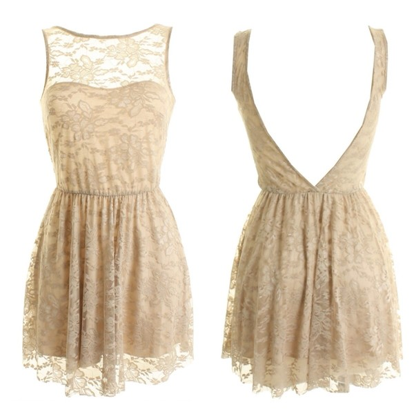 LOVE Beige V Back Lace Dress - Polyvore