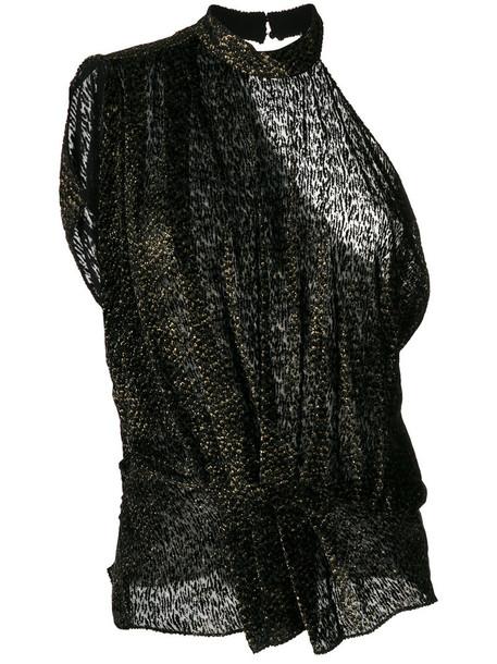 Iro blouse sleeveless women silk grey metallic top