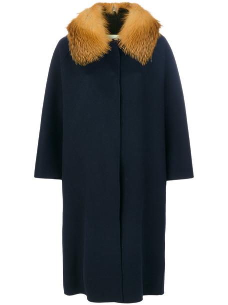 AVA ADORE coat fur fox women blue wool