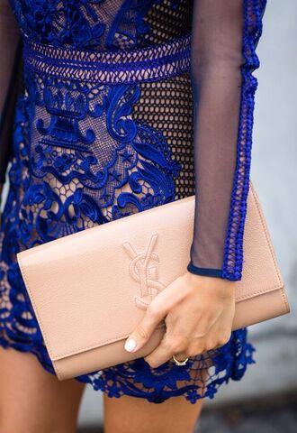 dress clutch ysl nude electric blue lace nude bag ysl bag electric blue dress long sleeves mini dress lace dress