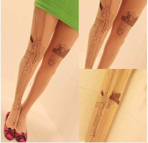 2PCs cool design Machine Gun style Tattoo Print Pattern good quality Pantyhose Stockings Tights retail pack-in Tights from Apparel & Accessories on Aliexpress.com