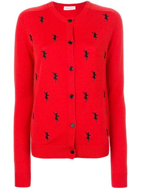 Sonia Rykiel - cat embroidered cardigan - women - Wool - S, Red, Wool