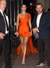 dress,asymmetrical,bella hadid,pumps,orange,orange dress,Paris Fashion Week 2017,fashion week 2017,haute couture,mini dress,shoes