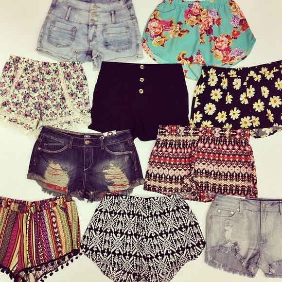 shorts flowered shorts high waisted short