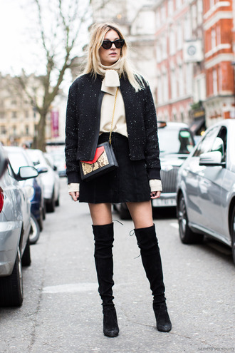 a love is blind streetstyle blogger suede boots winter jacket black skirt