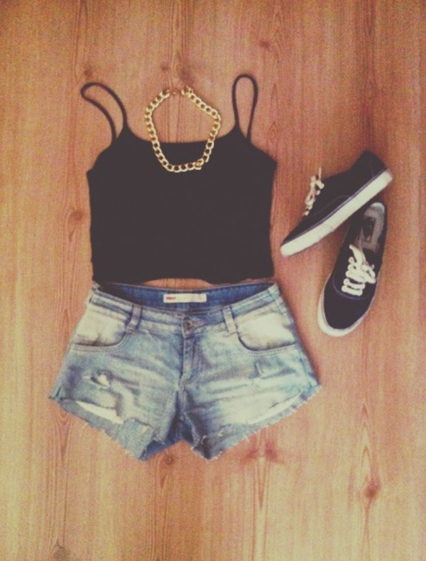 shorts shoes jewels shirt