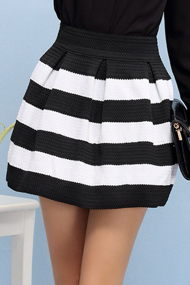 black and white skirt striped skirt high waisted skirt