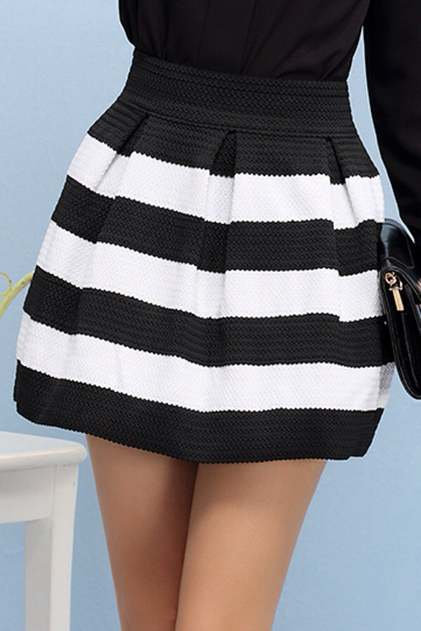 skirt striped skirt black and white high waist skirts