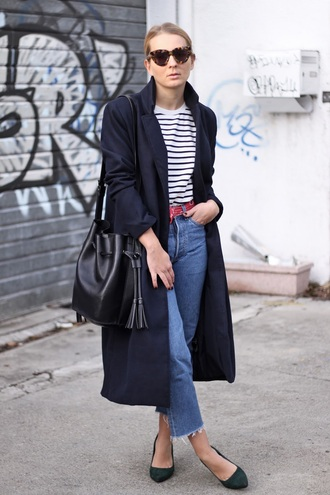 jane's sneak peak blogger coat long coat bucket hat black long coat bucket bag sunglasses tortoise shell sunglasses tortoise shell stripes striped top denim blue jeans