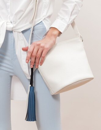 bag white leather skirt leather tassel white bag bucket bag