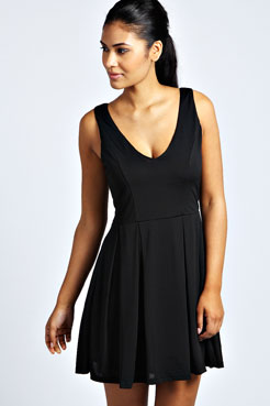 Lauren V Neck Box Pleat Skater Dress at boohoo.com