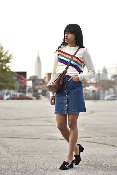 city laundry blogger sweater skirt bag shoes jewels fall outfits loafers denim skirt button up denim skirt