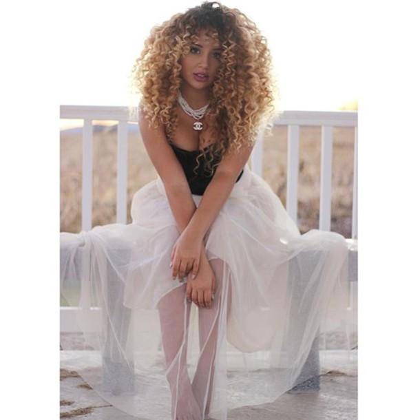 skirt jadah doll maxi skirt white skirt top tube top black top necklace chanel hairstyles Jadah Doll hair