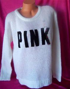 Victoria's Secret Pink White Logo Cozy Pullover Crew Sweater Sweatshirt M | eBay