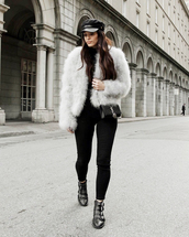 jacket,tumblr,fur jacket,faux fur jacket,white jacket,denim,jeans,white jeans,skinny jeans,boots,black boots,ankle boots,hat,fisherman cap