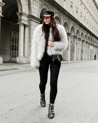jacket tumblr fur jacket faux fur jacket white jacket denim jeans white jeans skinny jeans boots black boots ankle boots hat fisherman cap