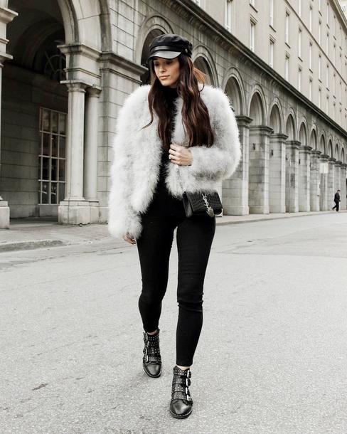 jacket tumblr fur jacket faux fur jacket white jacket denim jeans white jeans skinny jeans boots black boots ankle boots hat fisherman cap