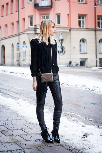 chaloth blogger leather pants mini bag street style