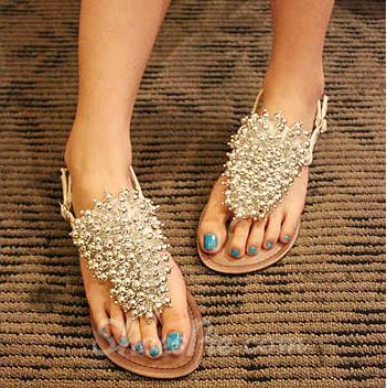 Shining Flat Clip Toe Girls Sandals