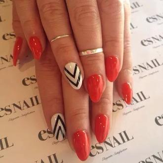 nail polish red white black nails