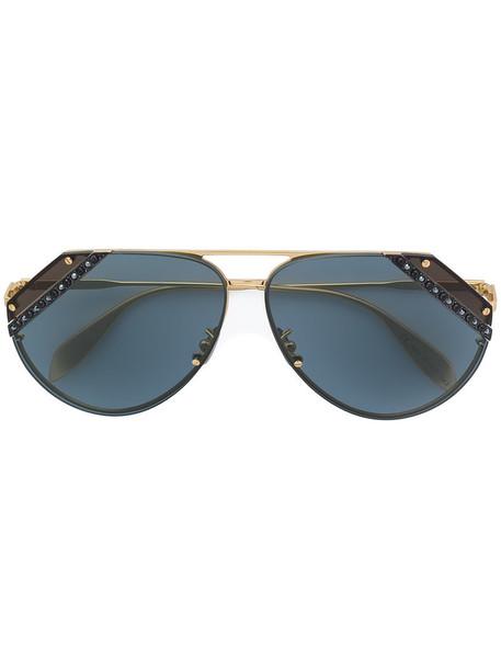 Alexander Mcqueen Eyewear - aviator sunglasses - women - metal - 65, Grey, metal in metallic