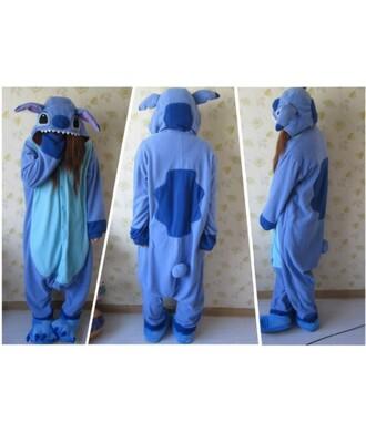 pajamas stitch kigurumi blue fashion style kawaii cute warm trendy onesie winter outfits teenagers it girl shop
