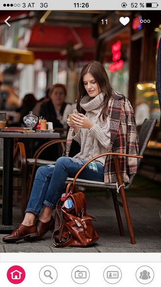 coat brown fall outfits coffee syle warm sweater flats bag
