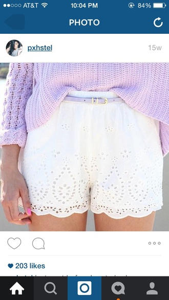 shorts pastel lace shorts