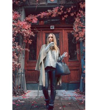 lisa olsson jacket bag blogger leather pants camel knitted sweater