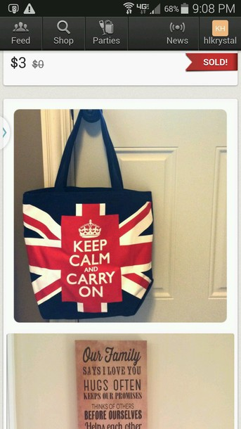 bag london british keep calm hobo bag tote bag red white blue red white and blue england United Kingdom purse big