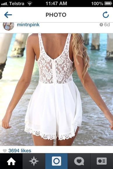 dress white white dress lace dress playsuit